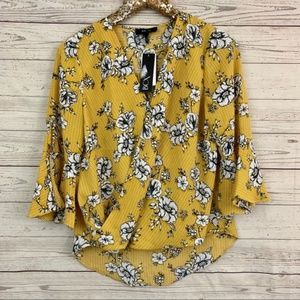 BCX floral bell sleeve faux wrap blouse top yellow